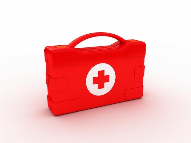 Erste hilfe. medical kit auf weiß isoliert. 3d-illustration