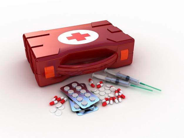 Erste hilfe. medical kit auf weiß
