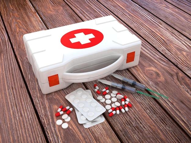 Erste hilfe. medizinische ausrüstung auf holz