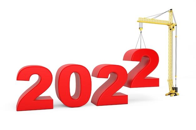 Erstellen sie das zukunftskonzept. turmdrehkran mit 2022-jahr-zeichen auf weißem hintergrund. 3d-rendering