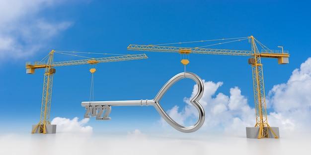 Erstellen sie das zukunftskonzept. turmdrehkran mit 2022 key sign auf einem wolkenhintergrund. 3d-rendering