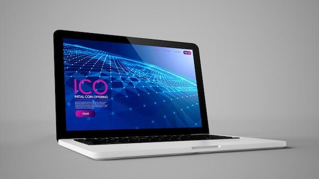Erstes münzangebot auf laptop-3d-rendering