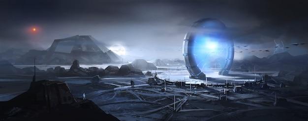 Es gibt szenen von fördergeräten auf dem äußeren planeten.