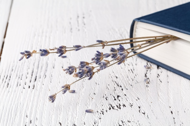 Es sind gute erinnerungen, ein strauß trockener lavendel, gras und bücher