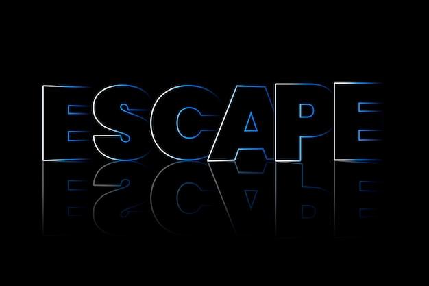 Escape-schatten-typografie auf schwarzem hintergrund