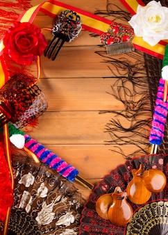 Espana typisch aus spanien mit kastagnetten flamenco-elementen