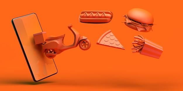 Essen online kaufen mit smartphone lieferung motorrad hot dog pizza hamburger pommes 3d-darstellung