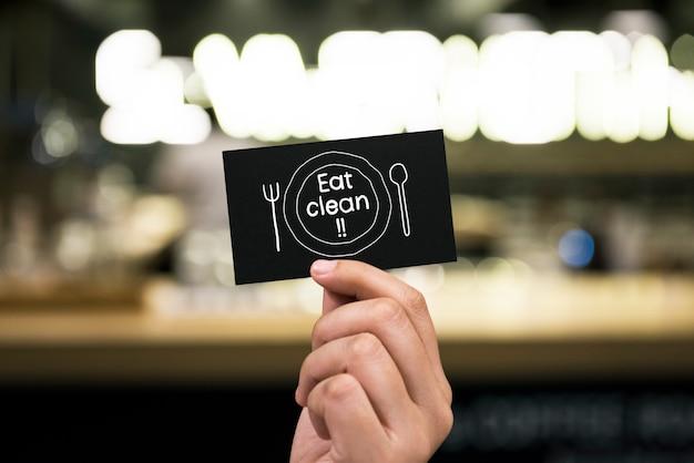 Essen sie die saubere phrase, die auf eine karte geschrieben wird