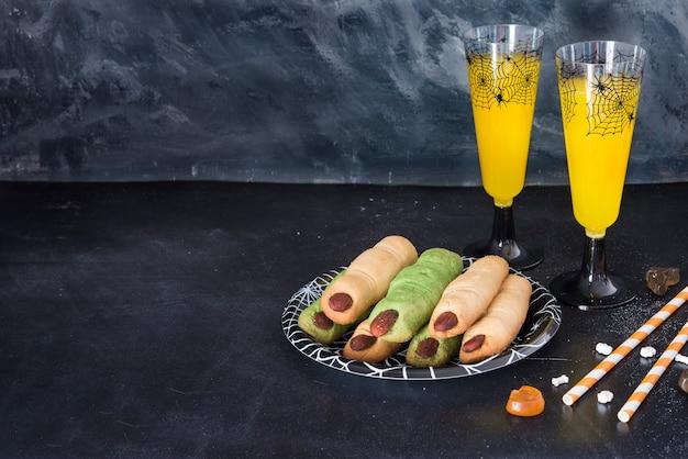 Essen und trinken für die halloween-party