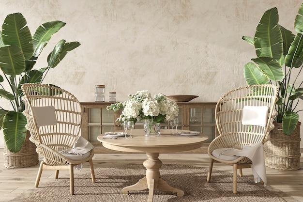 Esszimmer im küstendesign mit palmenpflanzen im gemütlichen wohnhintergrund im hampton-stil