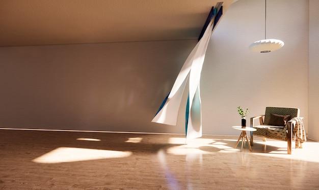 Esszimmerstuhl im linken teil eines schönen wohnzimmers
