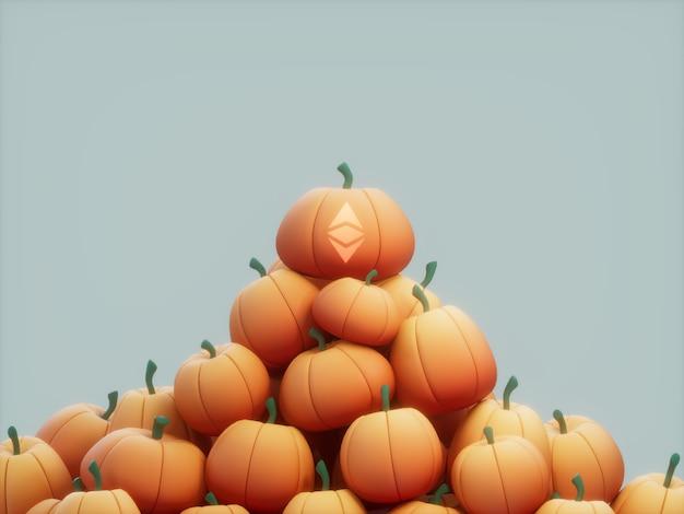 Ethereum geschnitzter kürbis stapel stapel kryptowährung 3d illustration rendern helle beleuchtung