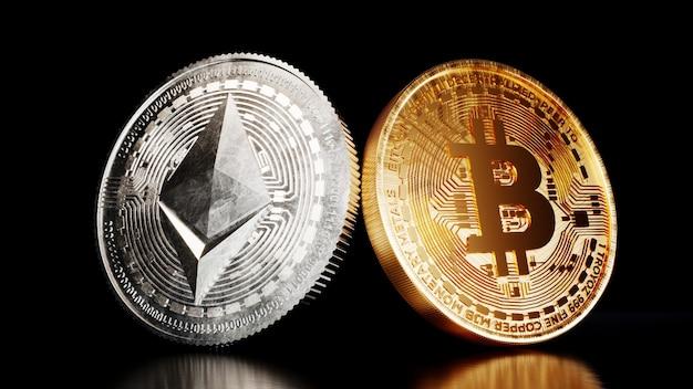 Ethereum münze kryptowährung digitales geld. Premium Fotos