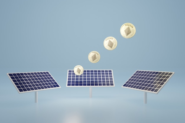 Ethereum-münze leuchtet auf 3d-rendering des solarzellenpanels