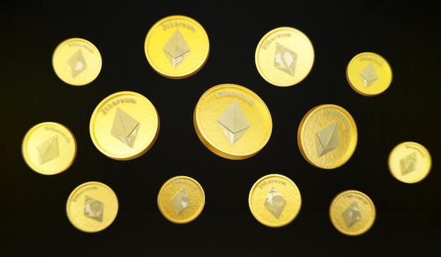 Ethereum-münze schwebt in der luft 3d-darstellung