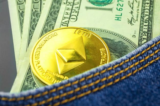 Ethereum-münztasche, spar- und investitionskonzept mit kryptowährung, geschäfts- und finanzfoto