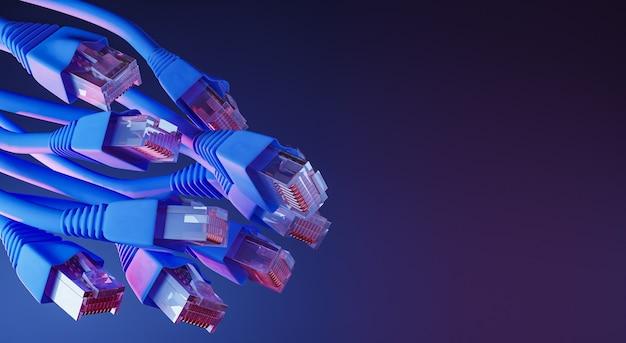 Ethernetkabel mit neonlicht