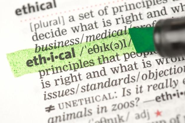Ethische definition grün hervorgehoben