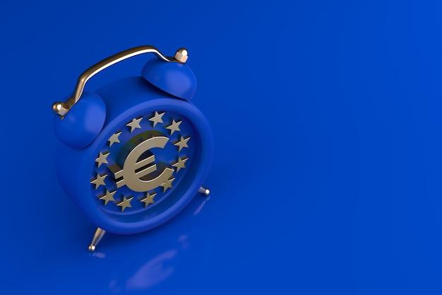 Eu-flagge mit euro-symbol und wecker, konzept. 3d-rendering