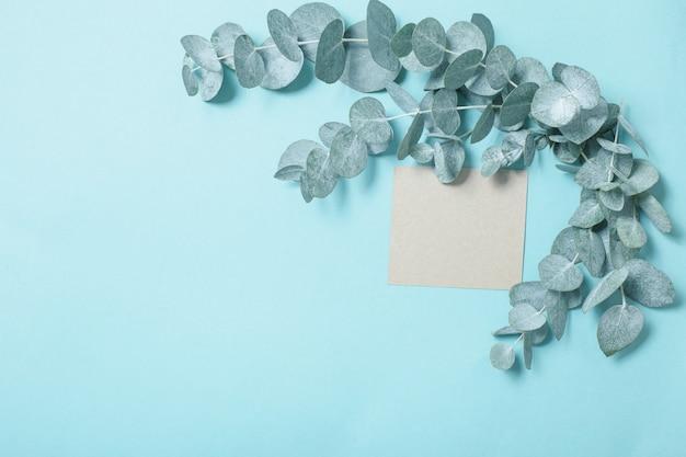 Eukalyptusblätter und bastelkarte auf blauem papierhintergrund