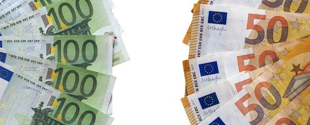 Euro-banknoten, europäische union isoliert über weiß