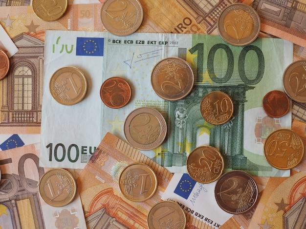 Euro-banknoten und -münzen, europäische union Premium Fotos