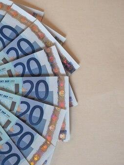 Euro (eur)-banknoten, europäische union (eu) mit kopienraum