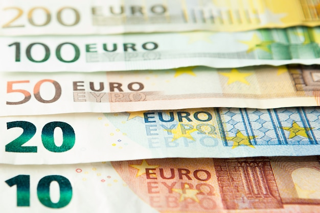 Euro geld banknoten nahaufnahme