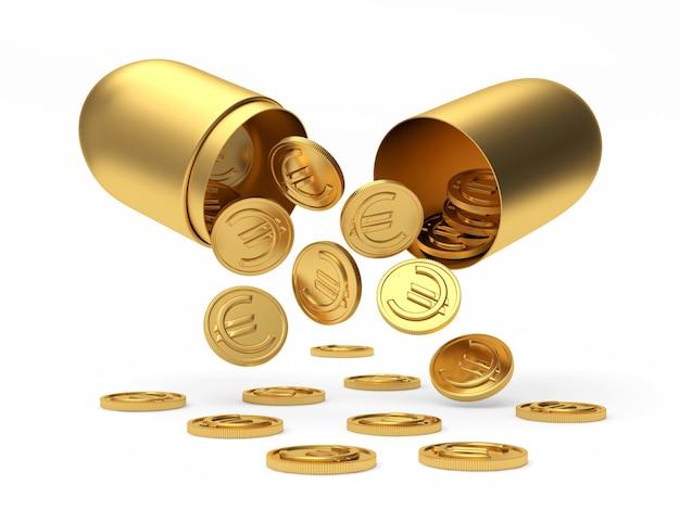 Euro-münzen fließen aus einer goldenen offenen medizinischen kapsel