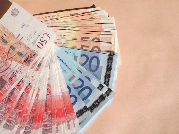 Euro- und pfund-banknoten währung der europäischen union und des vereinigten königreichs