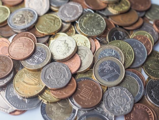 Euro- und pfund-münzen