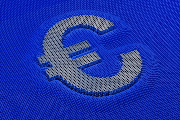 Euro-währungssymbol aus matrix aus silberzylinder. 3d-rendering
