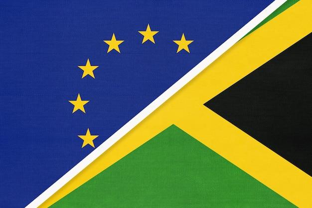 Europäische union oder eu gegen jamaika nationalflagge