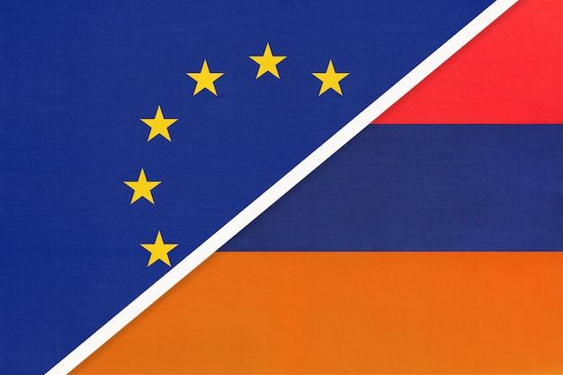 Europäische union oder eu gegen republik armenien nationalflagge aus textil.