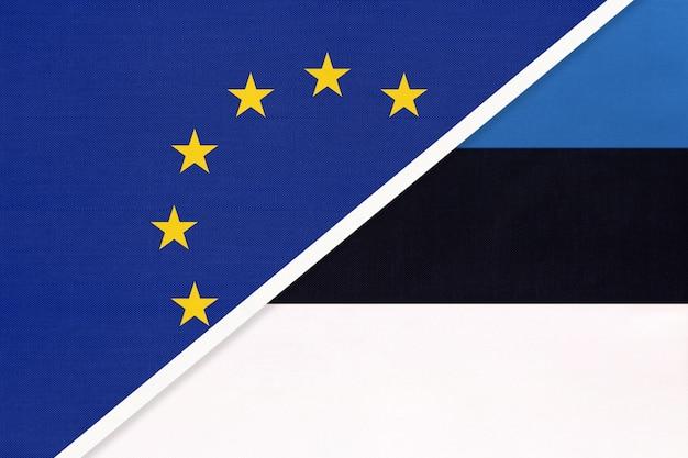 Europäische union oder eu gegen republik estland nationalflagge aus textil.