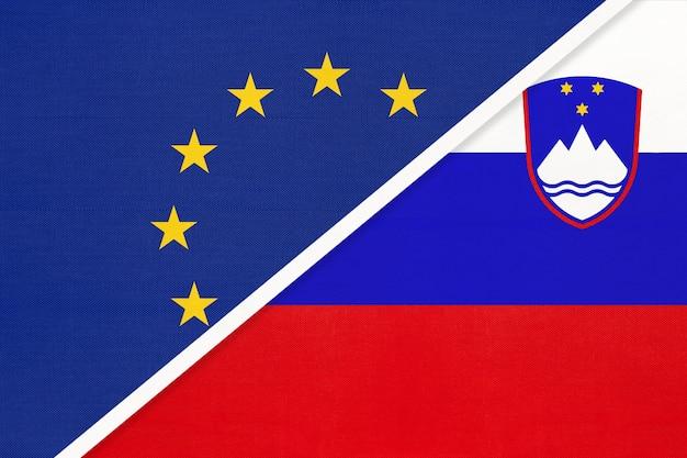 Europäische union oder eu gegen republik slowenien nationalflagge