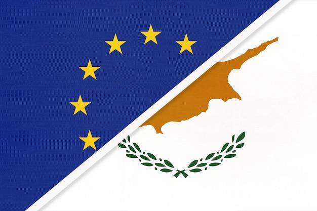 Europäische union oder eu gegen republik zypern nationalflagge aus textil.