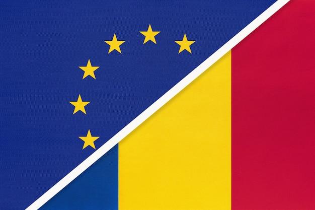 Europäische union oder eu gegen rumänien nationalflagge