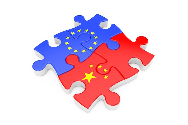Europäische union und china kooperation puzzle als flaggen auf weißem hintergrund. 3d-rendering