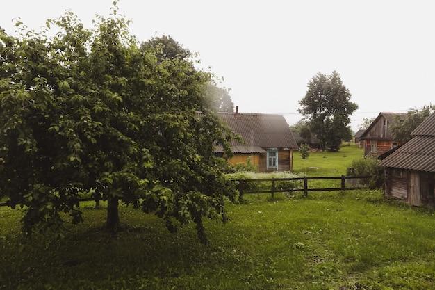 Europäisches holzhaus in einer malerischen landschaft im sommer