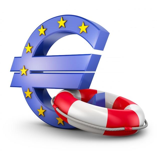 Eurozeichen und rettungsring auf einem weißen hintergrund. 3d-rendering.