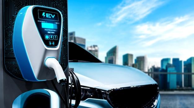 Ev-ladestation für elektroautos im konzept der alternativen grünen energie