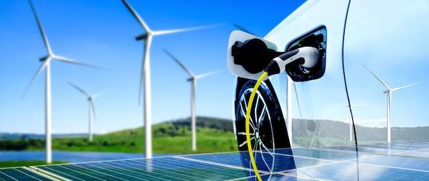 Ev-ladestation für elektroautos im konzept der grünen nachhaltigen energie