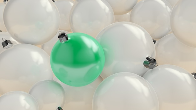 Ew jahr ball von tiffany farbe über dem hintergrund der weißen kugeln. 3d-rendering.