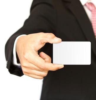 Exekutive, die eine leere visitenkarte