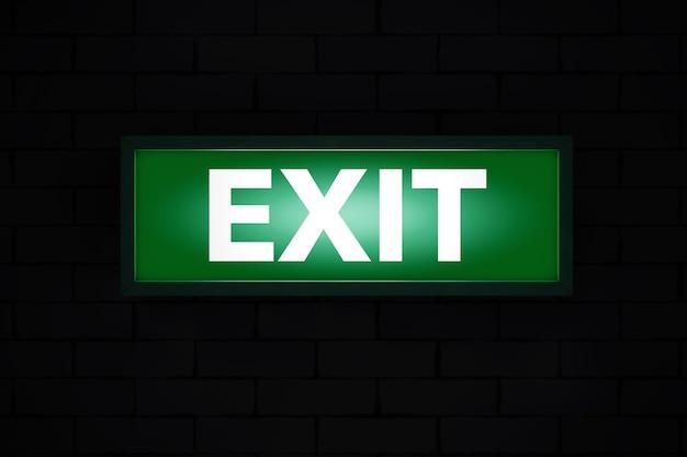 Exit sign light box auf schwarzem hintergrund. 3d-rendering.