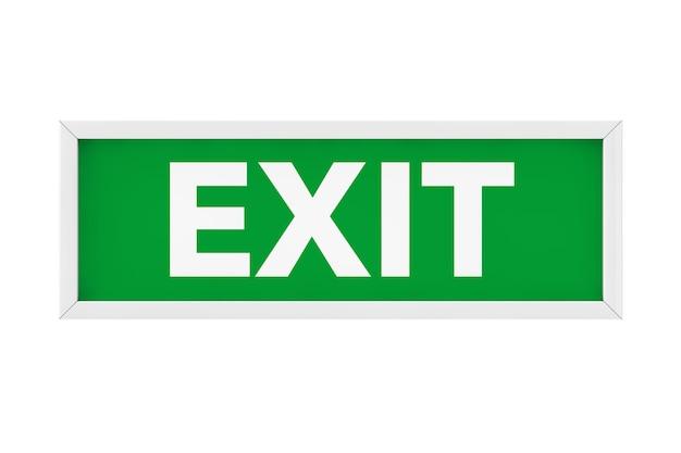 Exit sign light box auf weißem hintergrund. 3d-rendering.