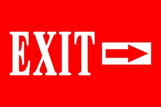 Exit-symbol-darstellung auf rotem hintergrund