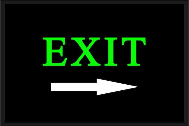 Exit-symbol-darstellung auf schwarzem hintergrund
