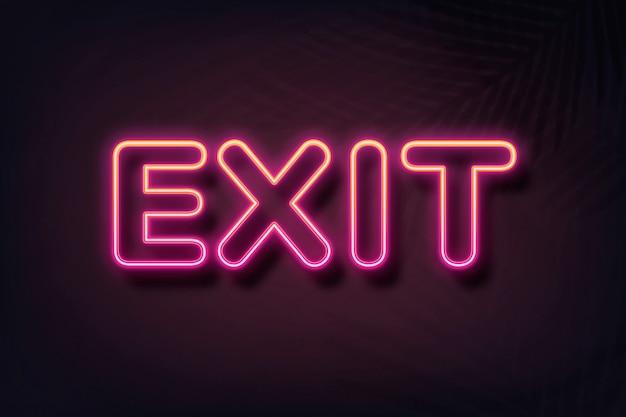 Exit-text in neonschrift